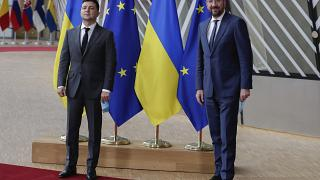 Ukrainian President Volodymyr Zelenskyy (L) and EU Council President Charles Michel in Brussels, Tuesday, Oct. 6, 2020.