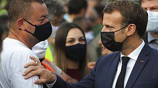 Emmanuel Macron auprès des sinistrés de Breil-sur-Roya, 7 octobre 2020