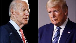 المرشح الديمقراطي دو بادين والرئيس الأمريكي دونالد ترامب