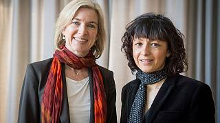 American biochemist Jennifer A. Doudna, left, and the French microbiologist Emmanuelle Charpentier, right, in Frankfurt, Germany, March 14, 2016.