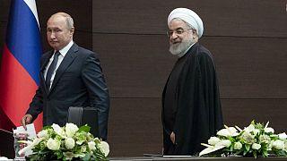 حسن روحانی، رئیس جمهوری ایران و ولادیمیر پوتین، رئیس جمهوری روسیه، آنکارا، ترکیه، ۲۰۱۹