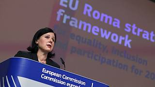 European Commissioner for Transparency and Values Vera Jourova presents the EU framework on Roma equality and inclusion strategies. Brussels, Wednesday, Oct. 7, 2020.