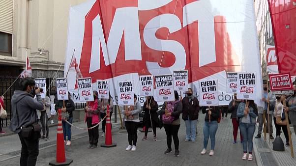 Manifestación contra el FMI y el pago de la deuda en Argentina