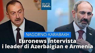 Ospiti di Euronews il presidente azero, Ilham Aliyev (a sinistra), e il primo ministro armeno, Nikol Pashinyan (a destra)