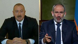 Aserbaidschans Präsident Aliyev und Armeniens Regierungschef Paschinjan.