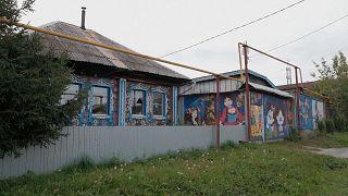 Colourful murals decorating a house in Boyarka, near Yekaterinburg, Russia