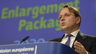 European Commissioner for Neighbourhood and Enlargement Policy Oliver Varhelyi in Brussels on Oct. 6, 2020.