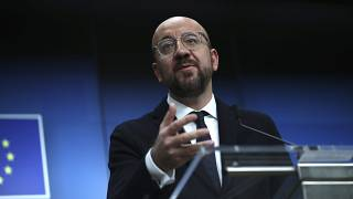 European Council President Charles Michel speaks during a media conference at the conclusion of an EU summit in Brussels, Friday, Dec. 13, 2019.