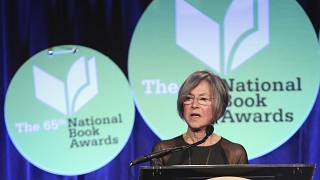 This file photo taken on November 19, 2014 shows US author Louise Gluck giving a speech at the 2014 National Book Awards in New York City.