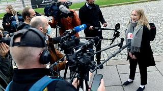 Aava Murto inteviewed by the media during her takeover of the post of Finnish prime minister