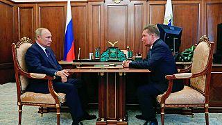 Vlagyimir Putyin a Gazprom vezetőjével, Alekszej Milerrel
