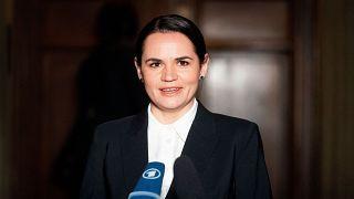 Svetlana Tikhanovskaya speaks to the media during a press statement in Berlin, Germany. October 6, 2020.