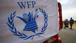 Archives : Le logo du Programme alimentaire mondial (WFP pour World food program en anglais) photographié le 16 mai 2017 au Soudan