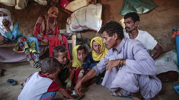 A family fighting extreme poverty is pictured in Hajjah, Yemen. Oct. 1, 2018.