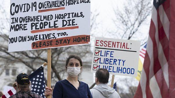 Amerika'da sağlık çalışanları tarafından yapılan bir protesto