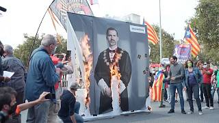 Protesters setting fire to images of King Felipe VI