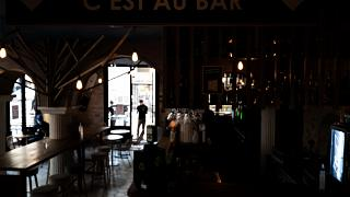 A picture taken on October 9, 2020 shows a cafe in Lyon after it became one of four more French cities placed on maximum coronavirus alert, joining Paris and others.