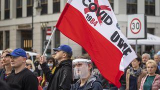 Manifestation anti-masque à Varsovie en Pologne le 10 octobre 2020