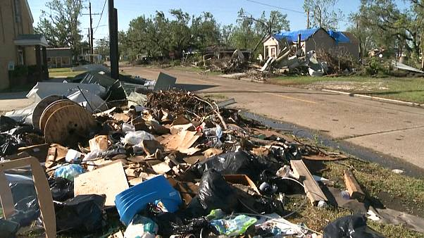 Debris littered the ground after Hurricane Delta hit Louisiana