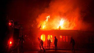 آتشسوزی در مرکز جمهوری خودخوانده قرهباغ