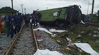 The scene of the  bus-train collision in Chacheongsao province, 80 kilometers (50 miles) east of Bangkok, Thailand, Sunday, Oct. 11, 2020.