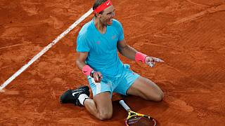 Spain's Rafael Nadal celebrates beating Serbia's Novak Djokovic in the French Open Men's Final at Roland Garros in Paris, October 11, 2020.