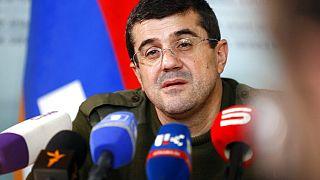 Le président de la république autoproclamée de l'Artsakh ou Haut-Karabakh, Araïk Haroutiounian en conférence de presse, 11 octobre 2020