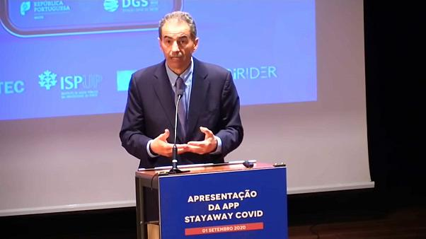 """Manuel Heitor na apresentação da app """"Stayaway Covid"""""""