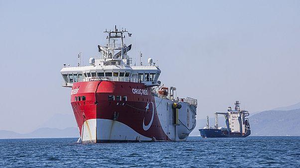 Turkey's research vessel, Oruc Reis, anchored off the coast of Antalya on the Mediterranean, Turkey.
