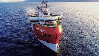 """سفينة الأبحاث التركية """"عروج ريس '' وهي تتجه غرب أنطاليا، 12 أغسطس / آب 2020"""