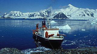 German research vessel POLARSTERN off the British Station Rothera, Antarctic Peninsula
