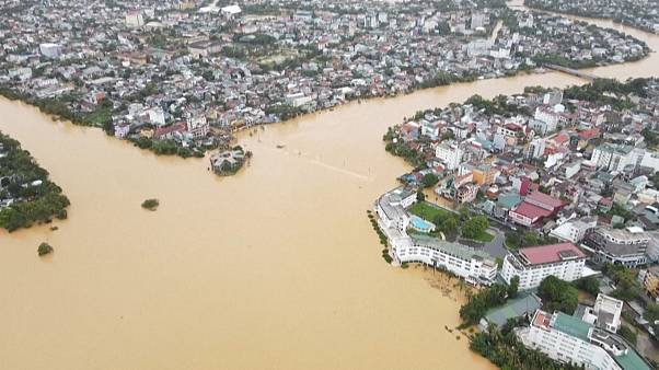 An aerial picture shows Hue city, submerged in floodwaters caused by heavy downpours