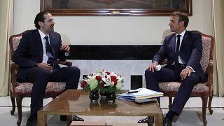 الرئيس الفرنسي إيمانويل ماكرون يلتقي برئيس الوزراء اللبناني الأسبق سعد الحريري  31 أغسطس ، 2020.