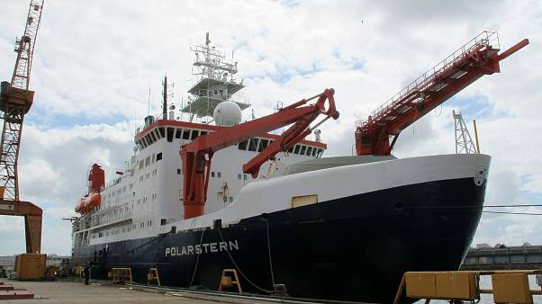 n this Wednesday, July 3, 2019 file photo the German Arctic research vessel Polarstern is docked for maintenance in Bremerhaven, Germany.