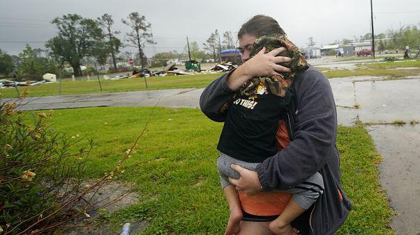 Passagem do furacão Deltano Louisiana