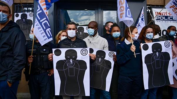 Polizisten protestieren in Champigny-sur-Marne
