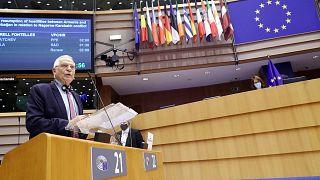 يتحدث الممثل الأعلى للاتحاد الأوروبي للشؤون الخارجية والسياسة الأمنية جوزيب بوريل خلال الجلسة العامة للبرلمان الأوروبي في بروكسل، 7 أكتوبر 2020.