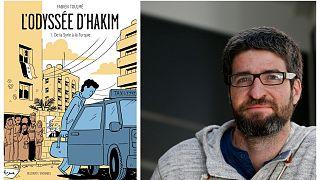 Couverture du premier tome de L'Odyssée d'Hakim et portrait de son auteur Fabien Toulmé en 2014
