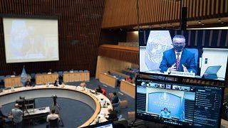 المدير العام لمنظمة الصحة العالمية تيدروس أدهانوم غيبريسوس يلقي كلمة على شاشة التلفزيون خلال جلسة خاصة للمجلس التنفيذي لمنظمة الصحة العالمية، 5 أكتوبر 2020