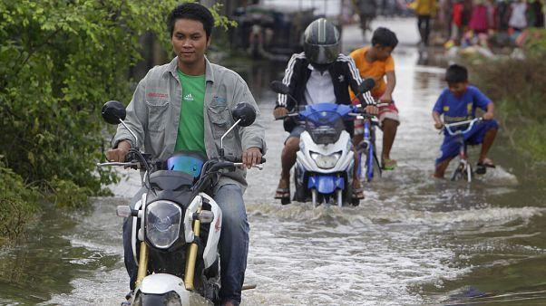 Inundaciones estos días a las afueras de Phnom Penh, en Camboya.