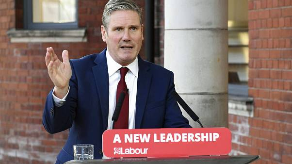 Britain's Labour leader Keir Starmer delivers his keynote speech, during the party's online conference from the Danum Gallery, Library and Museum in Doncaster, England.
