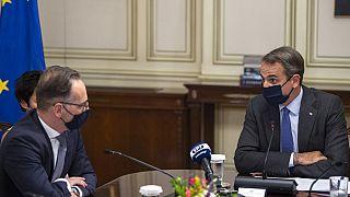 Yunanistan Başbakanı Kiryakos Miçotakis ile Almanya Dışişleri Bakanı Heiko Maas