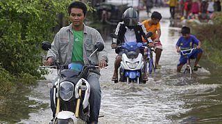 Le inondazioni di questi giorni a Phnom Penh, Cambogia