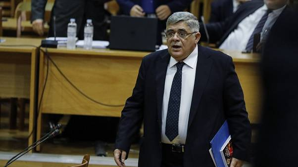 Head of Greece's extreme far-right Golden Dawn party Nikos Michaloliakos in court in November 2019.