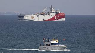 Turkey's research vessel, Oruc Reis anchored off the coast of Antalya on the Mediterranean, Turkey.
