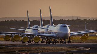 هواپیماهای بوئینگ شرکت لوفتهانزا زمینگیر در فرودگاه فرانکفورت؛ آلمان