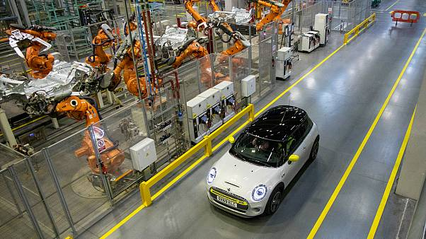 The new MINI electric car is unveiled at the BMW group plant in Cowley, near Oxford on July 9, 2019.