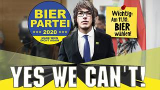 Capture d'écran du site du Bierpartei, avec son leader Marco Pogo