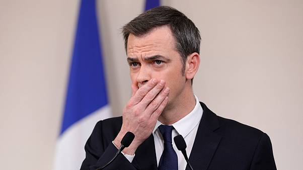 French Minister for Solidarity and Health Olivier Veran during a press conference in Paris on March 28, 2020.