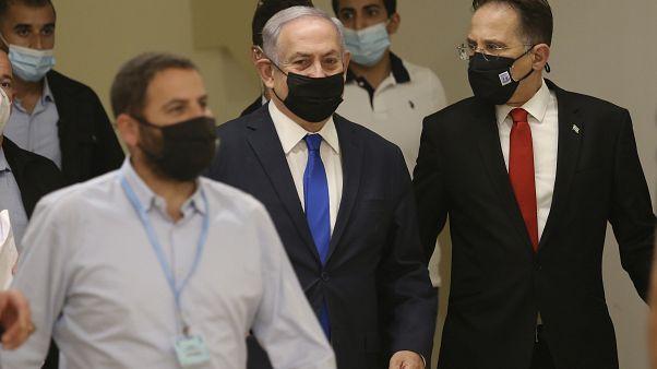 رئيس الوزراء الإسرائيلي بنيامين نتنياهو يصل إلى الكنيست، الخميس 15 أكتوبر 2020